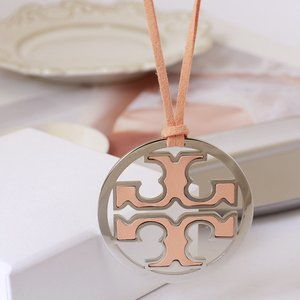 ToryBurch Hollow Disc Orange Leather Rope Necklace